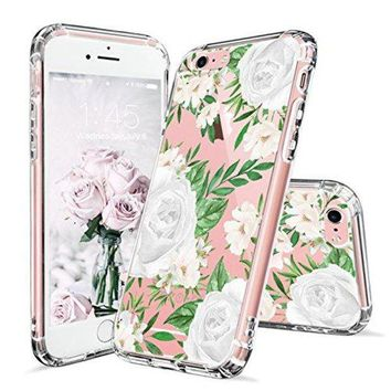 DCCKV2S iPhone 6 Case, iPhone 6s Cover, MOSNOVO White Roses Floral Flower Pattern Printed Clear Design Transparent Plastic Hard Back Case with TPU Bumper Gel Protective Cover for Apple iPhone 6 6s (4.7 Inch)
