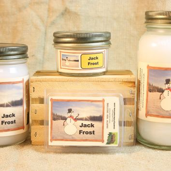 Jack Frost Candle and Wax Melts, Winter Scent Candle, Highly Scented Candles and Wax Tarts, Great Holiday Scent Candle, Housewarming Gift
