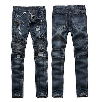 new Fashion Style Motorcycle cool Men Moto Biker Jeans Straight Slim Fit Denim Pants Distressed Blue