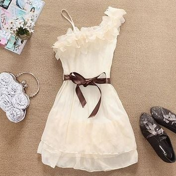 White-Dark Coffee Irregular Sashes Asymmetric Shoulder Skater Mini Dress