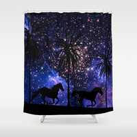 Galloping horses under starry sky Shower Curtain by Laureenr