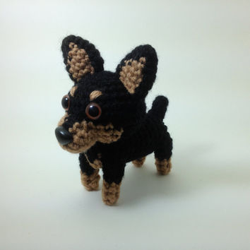 Miniature Pinscher Doberman Amigurumi Dog Crochet Dog Hand made Stuffed Animal / Made to Order