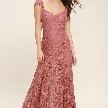 Evening Dreaming Rusty Rose Lace Maxi Dress