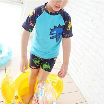 DCCK7N3 Little Dinosaur Swimwear Boy 3Pieces Swimsuit with Swimming Cap Blue Green Bathing Suit for Kids Short Sleeve Swimming Suit xq01