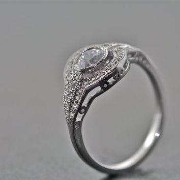 14kt White Gold and Diamond Art Deco Design Engagement Ring With .75 Carat White Sapphire Center