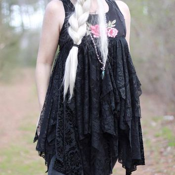 Black lace tunic, Stevie Nicks gypsy tunic top, True Clothing