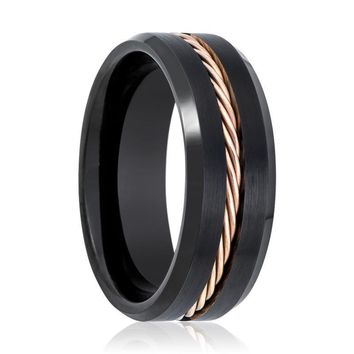 Brushed Tungsten Mens Wedding Band Black w/ Rose Gold Rope