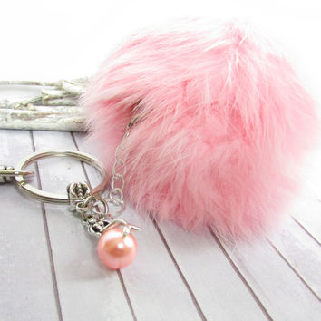 Mermaid Keychain with Pink Pom