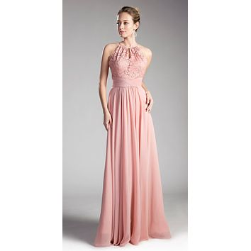 Halter Lace Top Long Formal Dress Keyhole Neckline and Back Dusty Rose
