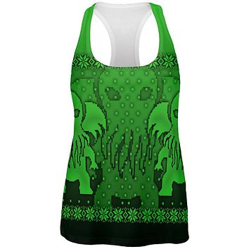 Ugly Christmas Sweater Big Cthulhu Greater Gods All Over Womens Work Out Tank Top