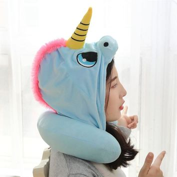 Creative Unicorn Neck Pillow Cute Plush Animal Unicorn Toy Soft Travel Pillow With Hat For Girls Birthday Present