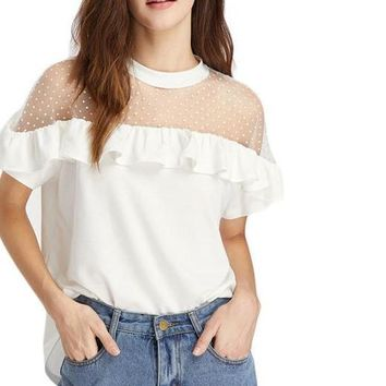Women White Frill Trim Cute Elegant Tops Semi Sheer Sexy Ruffle T-Shirt