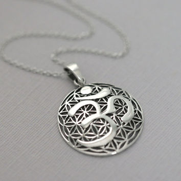 Silver Yoga Necklace, Oxidized Sterling Silver Om Necklace, Sterling Silver Yoga Pendant on Rhodium Plated Sterling Silver Necklace Chain