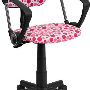 Pink Dot Printed Swivel Task Office Chair with Arms [BT-D-PK-A-GG]