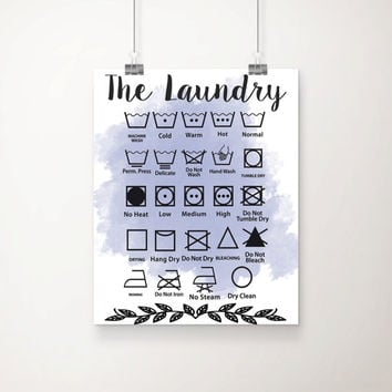 The Laundry Symbols Watercolor Art Print  - Laundry Room Decor - Laundry Art -  Laundry Decor