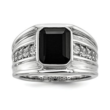 Sterling Silver White Sapphire & Onyx Square Men's Ring