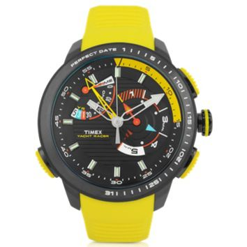 Timex Designer Men's Watches Yacht Racer Black Stainless Steel Case and Yellow Silicone Strap Men's Chrono Watch