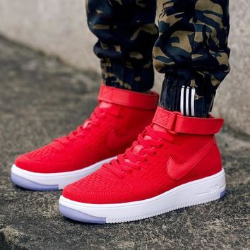 LMFON Nike Air Force 1 Flyknit Mid-High 817420-009 Red For Women Men Running Sport Casual Shoes Sneakers