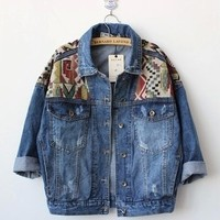 Vintage geometric pattern loose denim jacket demin coat from Sweetbox Store