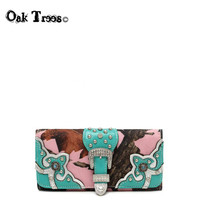 Pink Camo Buckle Wallet with Turquoise Trim