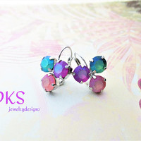 Summer Pastels, Swarovski Earrings, Lever Back, Three Stone, 8mm, Rhodium, Drop, Dangle, DKSJewelrydesigns, FREE SHIPPING