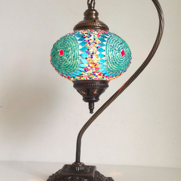 Turquoise Swan Neck  Mosaic Lamp With Vintage Look Square Base, Bedside night lamp, Turkish night lamp, Night Decoration, Midcentury lights.