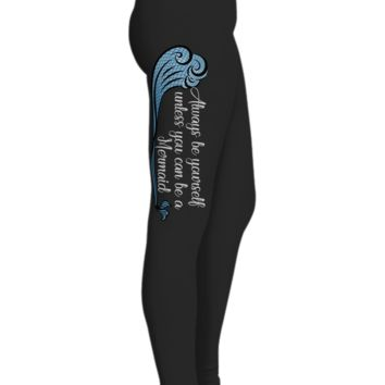 Mermaid Tail Printed Leggings For Her With Blue Wave, Black Workout Pants, Gifts For Yoga Lovers,