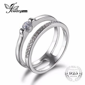 JewelryPalace Cubic Zirconia Anniversary Wedding Band Engagement Ring Set Guard Enhancer Genuine 925 Sterling Silver Jewelry