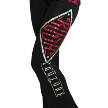 Women's Laced Fantasy Yoga Pants - Black/PinkLace