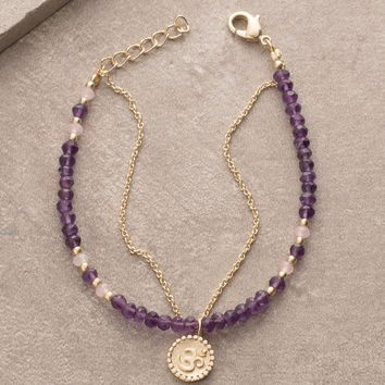 Amethyst Bead and Chain Om Bracelet
