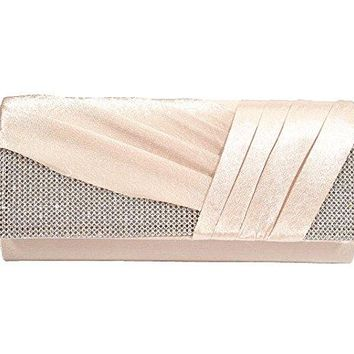 UStory Womens Satin Pleated Evening Clutch Rhinestone Wedding Prom Purse Handbag