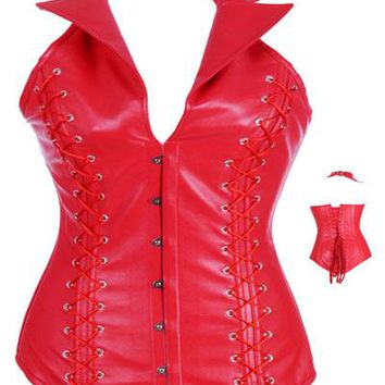 Sexy Red Steel Boned Corset