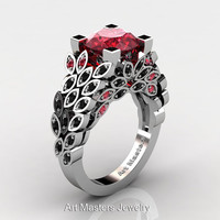Art Masters Nature Inspired 14K White Gold 3.0 Ct Rubies Black Diamond Engagement Ring Wedding Ring R299-14KWGBDR