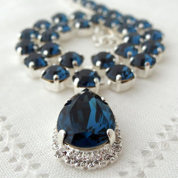 Dark blue crystal Swarovski necklace, Navy blue, Bridal necklace, Statement necklace, Bridesmaids gift, Tennis necklace,Wedding jewelry