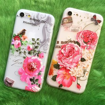 New Fashion Case For iPhone 7 3D Relief Flowers Bird Soft TPU Case For iPhone 6 6s 7 Plus Coque Cover For Iphone 5s 5 se