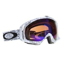 Oakley Crowbar Snowboard Goggles White Factory Text/Blue Iridium Lens 2013 - Mens