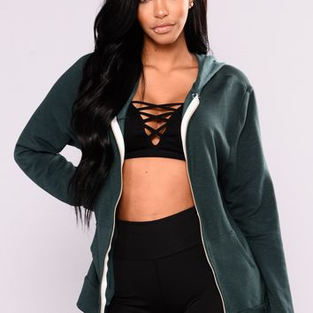 Krissa Lounge Tunic Hoodie - Forest Green