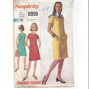Simplicity 6959 Pattern for Misses' 1 Piece Dress, Designer Fashion, Size 12, From 1967, Vintage Pattern, Home Sewing Pattern, 1967 Fashion