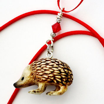 Hedgehog Christmas Ornament Red Swarovsky Crystal Wire Wrapped by Hendywood