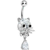 Crystalline Gem Sophisticated Kitty Cat Dangle Belly Ring | Body Candy Body Jewelry