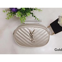 YSL tide brand female twill small round bag wild fashion chest bag chain bag shoulder bag Gold
