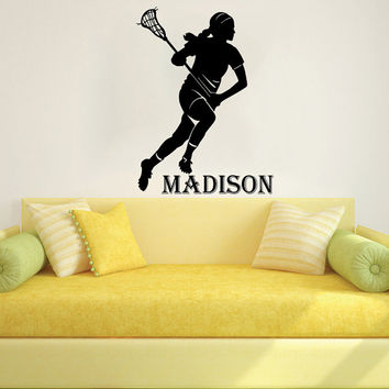 Wall Decal Name Vinyl Sticker Personalized Custom Name Decals Art Home Decor Mural  Lacrosse Player Kids Children Name Boys Girls AN596
