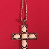 Silver High Polished Cross Necklace White Crystal Cut Beaded Decor