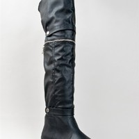 Bamboo CAPELLA-67 Button Strap Zipper Detail Over the Knee OTK Thigh High Low Wedge Boot