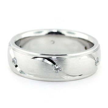 Men's Diamond  Wedding Band Carved Accents - Fly Away With Me