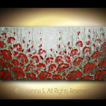 ORIGINAL Large Abstract Flowers Impasto by ModernHouseArt on Etsy