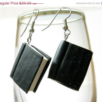 CIJ SALE Little Black Book Dangle Earrings with Glitter Handmade in Polymer Clay