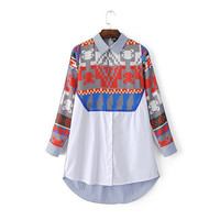 Summer Korean Print Long Sleeve Shirt [6332337860]