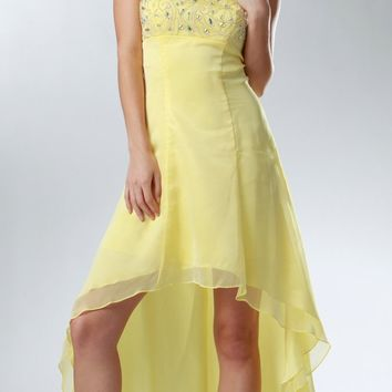 CLEARANCE - Yellow High Low Formal Dress Strapless Beaded Top (Size Small)