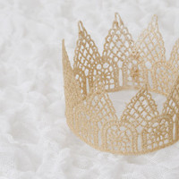 Gold  Lace Crown-Photo Prop- Newborn Baby Toddler Crown-